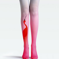 "Women's Fashion ""The Red Cranes"" Printed Pattern Tights Pantyhose by Fashnin.com"