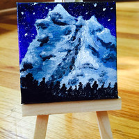 Miniature Icy Mountain Painting in Acrylic on Canvas