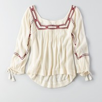 AEO EMBROIDERED PEASANT SHIRT