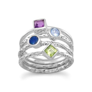 Sterling Silver Amethyst, Blue Topaz, Opal & Peridot Textured 4 Band Ring
