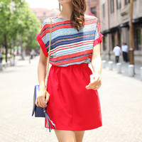 Red Striped Loose Fitting Casual Dress