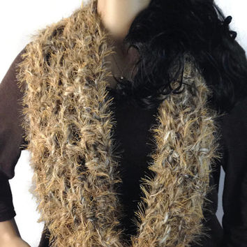 Golden Faux Fox Fur Circle Scarf Cowl Outlander Scottish  Scotland Diana Gabaldon FREE SHIPPING