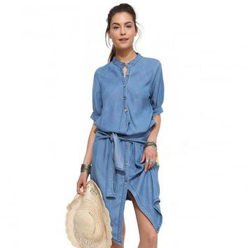 Dress Single Breasted Stand Butterfly Sling Slim Cowboy Dress 1/2 Sleeve Blue Denim Bodycon-1