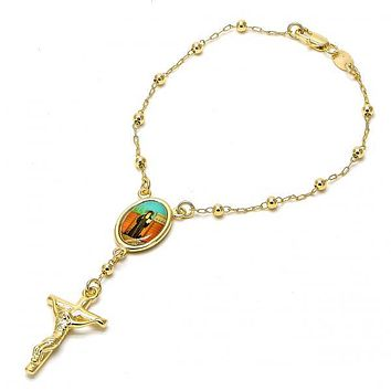 Gold Layered 03.65.1153.1.08 Bracelet Rosary, Crucifix Design, Polished Finish, Golden Tone