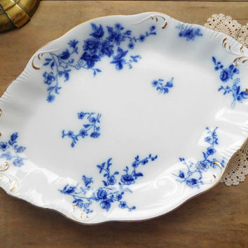 Flow Blue China Platter W H Grindley Rose Pattern