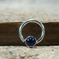 Septum Ring Silver Amethyst Gemstone