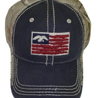 Duck Commander ~ Navy and Camo 2 Tone USA Duck Logo Flag Cap ~ New Hunting Hat