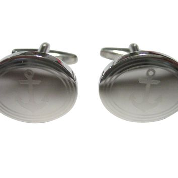 Silver Toned Etched Oval Nautical Anchor Cufflinks