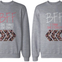 Crazy BFF Floral Print Grey Sweatshirts for Best Friends
