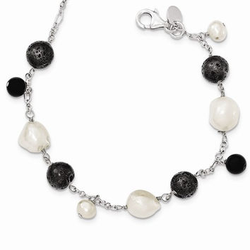 Sterling Silver & Fwc Pearl Black Agate Lava Rock with Necklace
