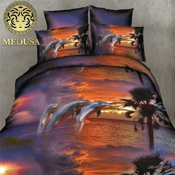 real 3d dolphin bedding set duvet/doona cover bed sheet pillow cases 4pcs queen size velvety bedclothes,velvety microfiber
