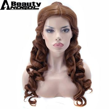 ANOGOL BEAUTY Clip Ponytai+Hair Cap+Beauty And Beast Natural Brown Long Body Wave Belle Synthetic Cosplay Wig For Halloween