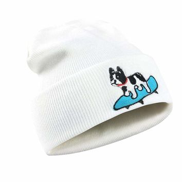 Winter Hat Women Men Dog print Pattern Knitted Hip Hop Baggy Cap Hat Keep Warm Dog Embroidery Applique Crochet Ski Hat femme