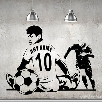 Wall Art Custom Large SOCCER / Football Player Choose Jersey Name And  Numbers Vinyl Wall Decal