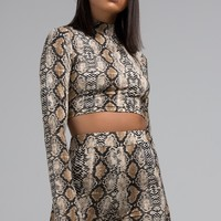 REHAB Snakeskin Crop Top in Nude Snake