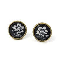 Flower Earrings Black and White Studs Bronze Romantic Jewelry Gift for Her Under 20 - Under 15 Free Shipping