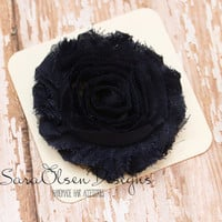 Rosette Hair Clip, Navy Blue Rosette, Frayed Chiffon Hairclip, Children's Hair Accessories, Toddler Hairclip, Girls Hairbow, Flower Hairclip