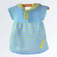 High Fashion Baby girl Sailor dress with sea horse in citrus green
