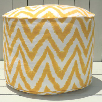 "Yellow chevron pouf, chevron ottoman 18"", bean bag chair, yellow floor pouf, ikat cushion"