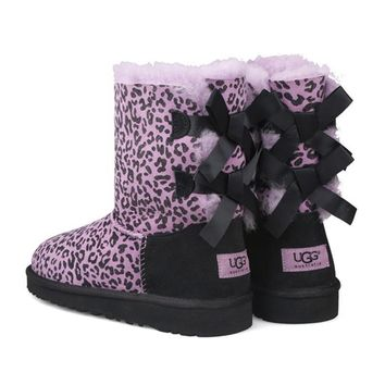 UGG Leopard bow wool inner snow boots