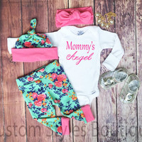 Baby Girls Coming Home Outfit, Mommy's Angel, Floral Leggings, Hat and Headband,Baby Leggings, Pink, Girls Outfit