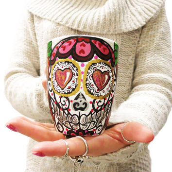 Hand Painted Valentine's Day Sugar Skull Mug With Red Roses