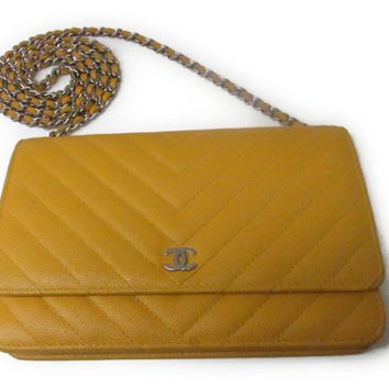 CHANEL Chain wallet/Purse shoulder bag Caviar skin Yellow Used Vintage Women