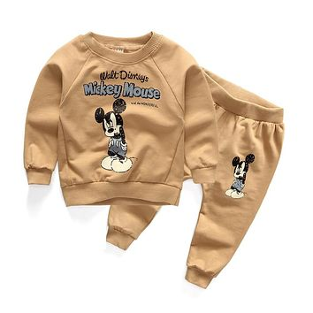 2016 New autumn cotton baby clothes korea style with character tops + pants suits for infant boys girls casual tracksuits