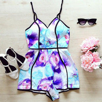 Printed black strapless v-neck sexy fashion jumpsuits