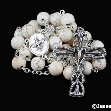 Anglican Rosary Off White Magnesite Natural Stone Prayer Beads Silver Christian Episcopal Rosary Beads