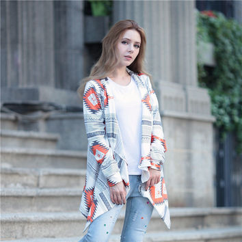 Cardigan Geometric Pattern Cashmere Tops Scales [8035750785]