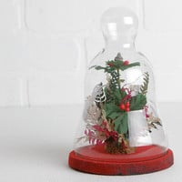 Vintage Glass Diorama, Christmas Diorama in Bell Jar or Cloche with Faux Greenery Ferns Berries Flowers
