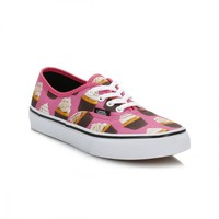 Vans Kids Hot Pink/Cupcakes Authentic Canvas Trainers