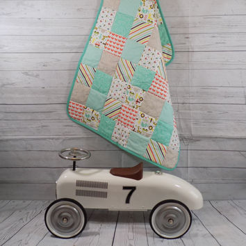 Baby Boy Quilt, Pastel, Bright Colours, Patchwork, Chevron, Patchwork Quilt, Baby Quilt, Quilt, Pastel Baby Quilt, Baby Quilt Handmade