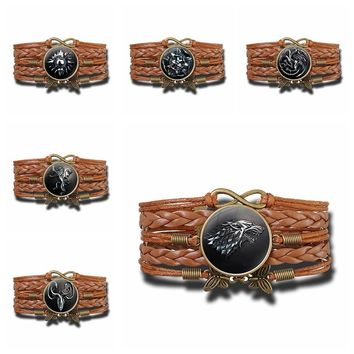 Game Of Thrones House Crest Logo Leather Bracelet