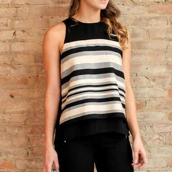 Azaria Striped Open Back Top