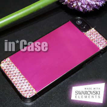 Genuine SWAROVSKI ELEMENTS Crystal iPhone 5 5s Hot Pink Brushed Aluminum Black Hard Bling Case AB Pink and Clear Screen protector)