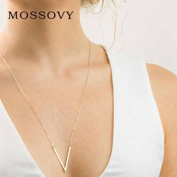 Mossovy Rose Gold Long Necklace Women V Letter Necklaces Pendants Women Accessories Minimalist Jewelry for Best Friend Kolye
