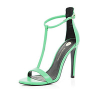 GREEN T BAR BARELY THERE STILETTO SANDALS