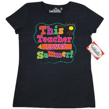 This teacher loves summer Women's T-Shirt cute last day of school teaching gift or end of year summertime vacation tee. $17.99 www.personalizedteachershirts.com