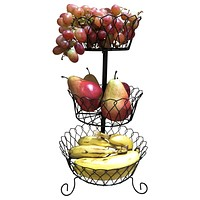 Evelots 3 Tier Black Fruit Basket, Kitchen Organization, Black