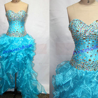 Unique blue tulle homecoming dress in 2014,stunning women gowns for holiday party,cheap chic prom dresses with rhinestones hot.