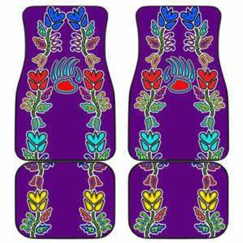 4 Generations Floral with Bearpaw Purple Set of 4 Car Floor Mats