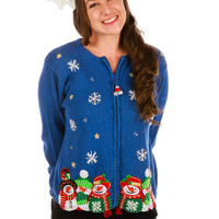 My Eyes Are Up Here Ugly Christmas Cardigan Sweater