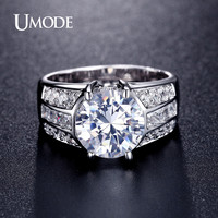 UMODE Classic Design Big Simulated CZ Stone Rings Fashion Wedding Band Jewelry for Men Women Lot Bijoux En Gros Bagues UR0331