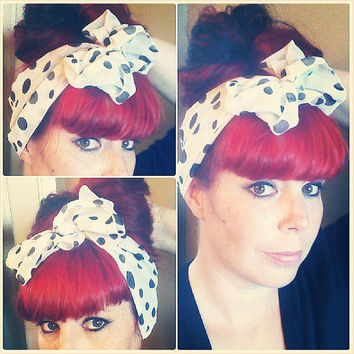 White with Black Polka Dots Vintage Style Chiffon Hair Scarf Headwrap Hair Bow 1940s 1950s Rockabilly - Pin Up - For Women, Teens