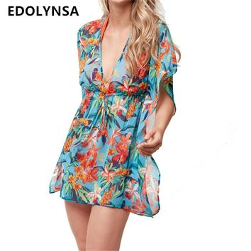 Beach Dress Tunic Chiffon Pareo Beach Cover Up 2017 Brand Swimwear Cover Up Women Floral Swimsuit Bathing Suit Cover Up #Q370