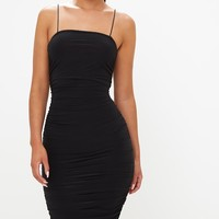 Black Slinky Ruched Bodycon Dress