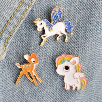 3PCS Cute Enamel Pin Set Candy Unicorn Rainbow Little Pony Bambi Deer Cartoon Enamel Pins