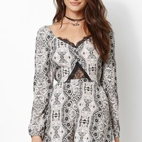 Kendall & Kylie Lace Inset Long Sleeve Romper - Womens Dress - Multi
